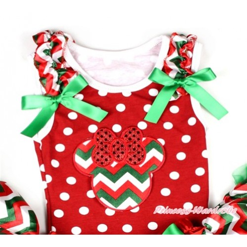 Minnie Dots Tank Top With Red White Green Wave Minnie Print with Red White Green Wave Ruffles & Kelly Green Bow TP174