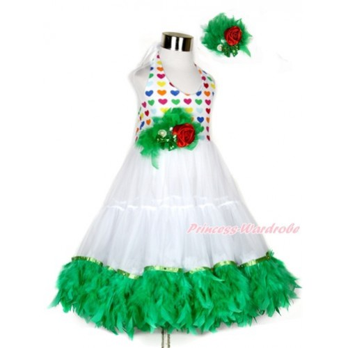 Xmas White Rainbow Heart ONE-PIECE Petti Dress with Kelly Green Posh Feather & Kelly Green Feather Crystal Rose Bow With Accessory 2PC Set LP36
