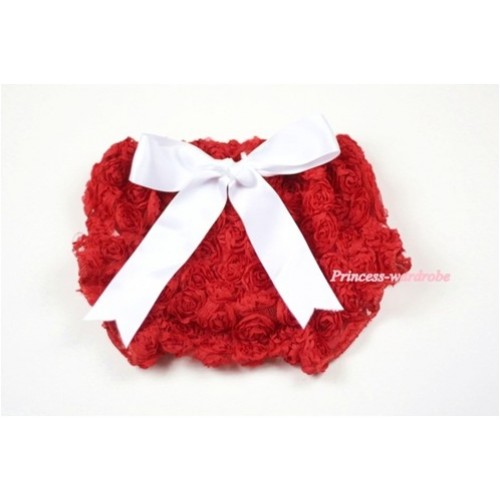 Red Romantic Rose Panties Bloomers with White Bow BR32