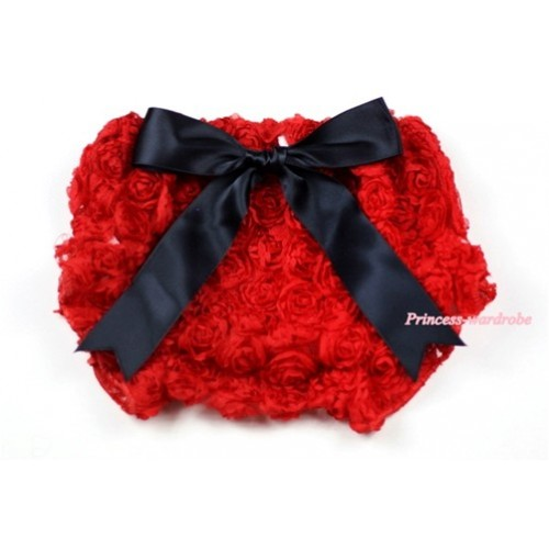Red Romantic Rose Panties Bloomers with Black Bow BR34