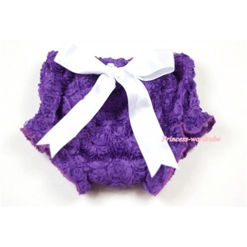 Dark Purple Romantic Rose Panties Bloomers With White Bow BR36