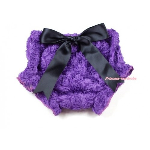 Dark Purple Romantic Rose Panties Bloomers With Black Bow BR38