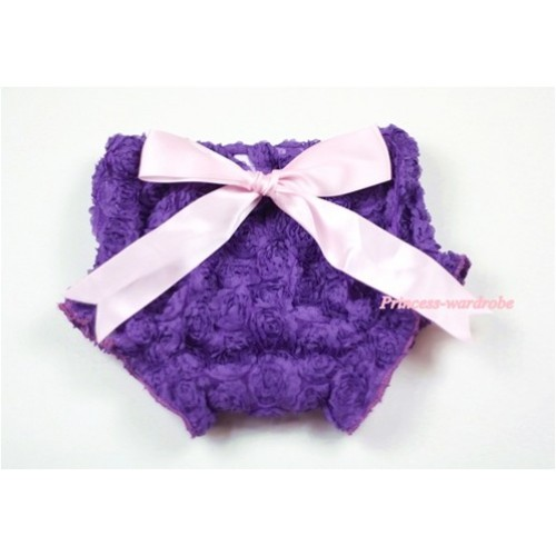Dark Purple Romantic Rose Panties Bloomers With Light Pink Bow BR39
