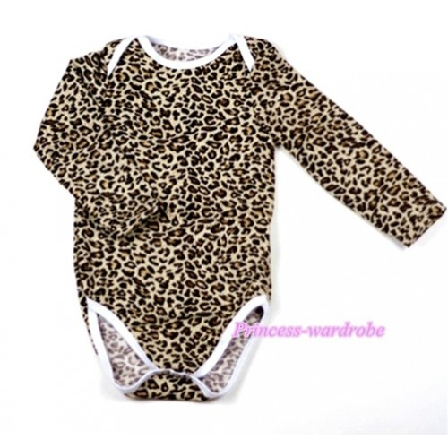 Leopard Print Long Sleeve Baby Jumpsuit LH01