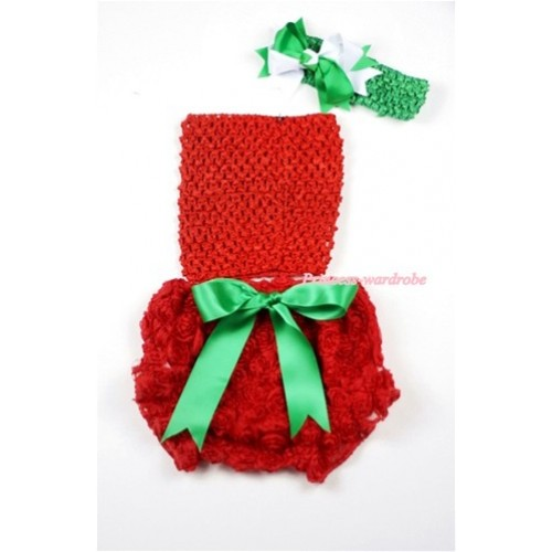 Red Rose Panties Bloomers with Red Crochet Tube Top and Green White Bow Green Headband 3PC Set CT449
