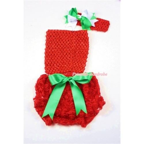 Red Rose Panties Bloomers with Red Crochet Tube Top and Green White Bow Red Headband 3PC Set CT450