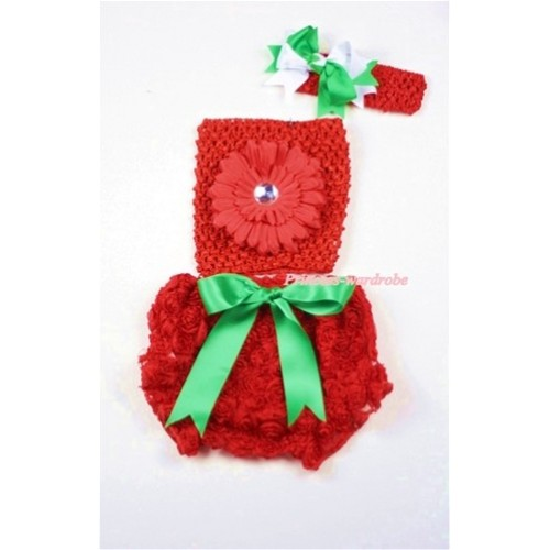 Red Rose Panties Bloomers with Red Flower Red Crochet Tube Top and Green White Bow Red Headband 3PC Set CT451