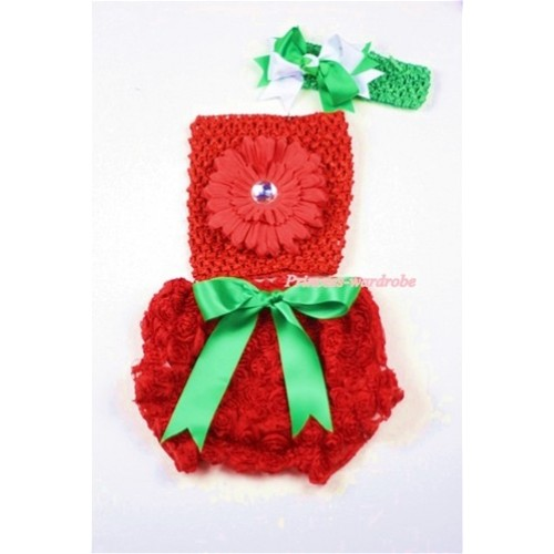 Red Rose Panties Bloomers with Red Flower Red Crochet Tube Top and Green White Bow Green Headband 3PC Set CT452