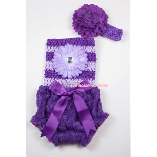 Dark Purple Rose Panties Bloomers with Light Purple Flower Dark Purple Light Purple Crochet Tube Top and Purple Peony Purple Headband 3PC Set CT454