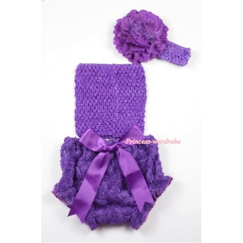 Dark Purple Rose Panties Bloomers with Dark Purple Crochet Tube Top and Purple Peony Purple Headband 3PC Set CT455