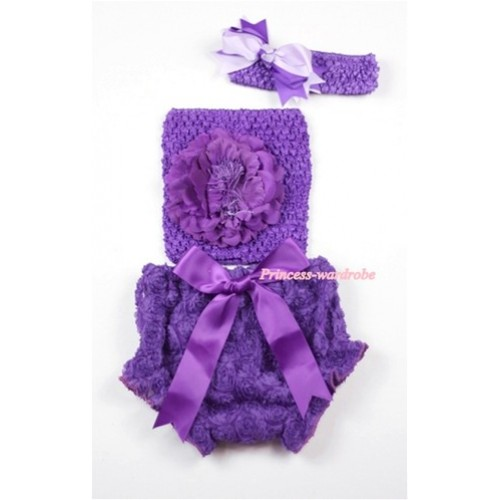 Dark Purple Big Bow Dark Purple Rose Panties Bloomers with Dark Purple Peony Dark Purple Crochet Tube Top and Dark Purple Light Purple Bow Purple Headband 3PC Set CT456