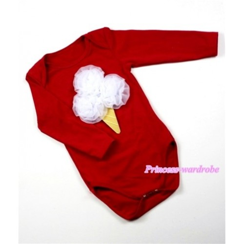 Hot Red Long Sleeve Baby Jumpsuit with White Rosettes Ice Cream Print LS150