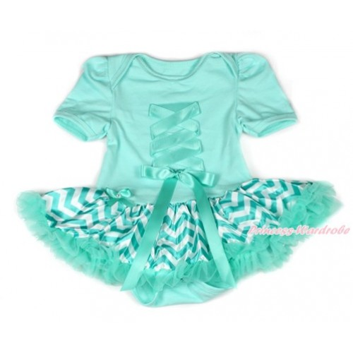 Aqua Blue Baby Bodysuit Jumpsuit Aqua Blue White Wave Pettiskirt with Aqua Blue Crisscross Ribbon Bow JS1849