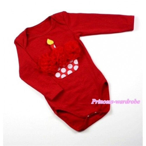 Hot Red Long Sleeve Baby Jumpsuit with Wine Red Rosettes Minnie Dots Birthday Cake Print LS155