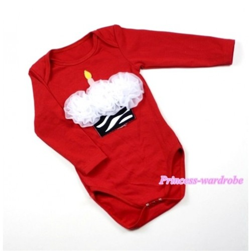 Hot Red Long Sleeve Baby Jumpsuit with White Rosettes Zebra Birthday Cake Print LS157