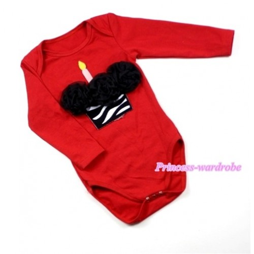 Hot Red Long Sleeve Baby Jumpsuit with Black Rosettes Zebra Birthday Cake Print LS158