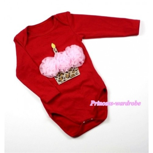 Hot Red Long Sleeve Baby Jumpsuit with Light Pink Rosettes Leopard Birthday Cake Print LS162