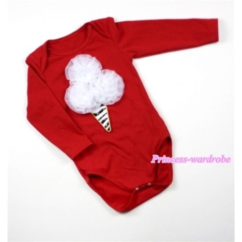 Hot Red Long Sleeve Baby Jumpsuit with White Rosettes Zebra Ice Cream Print LS164