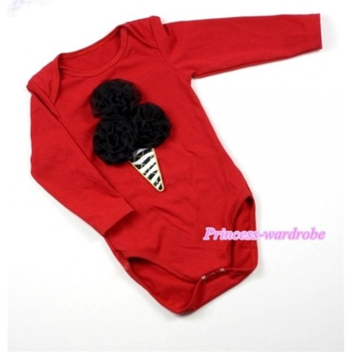 Hot Red Long Sleeve Baby Jumpsuit with Black Rosettes Zebra Ice Cream Print LS165