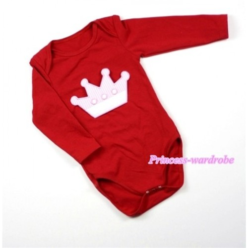 Hot Red Long Sleeve Baby Jumpsuit with Crown Print LS167