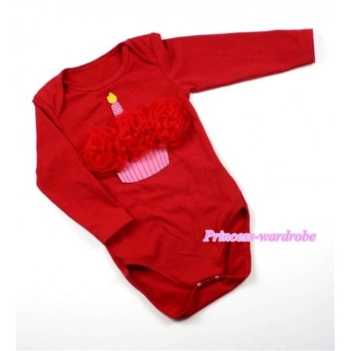 Hot Red Long Sleeve Baby Jumpsuit with Red Rosettes Birthday Cake Print LS168