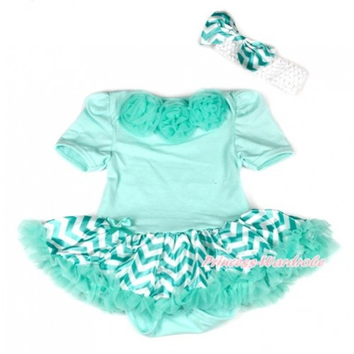 Aqua Blue Baby Bodysuit Jumpsuit Aqua Blue White Wave Pettiskirt With Aqua Blue Rosettes With White Headband Aqua Blue White Wave Satin Bow JS1899