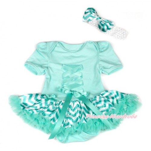 Aqua Blue Baby Bodysuit Jumpsuit Aqua Blue White Wave Pettiskirt With Aqua Blue Crisscross Ribbon Bow With White Headband Aqua Blue White Wave Satin Bow JS1902
