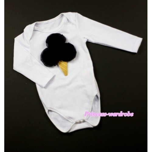 White Long Sleeve Baby Jumpsuit with Black Rosettes Ice Cream Print LS200