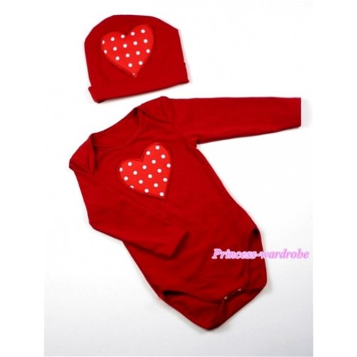 Hot Red Long Sleeve Baby Jumpsuit with Red White Polka Dots Heart Print with Cap Set LS53