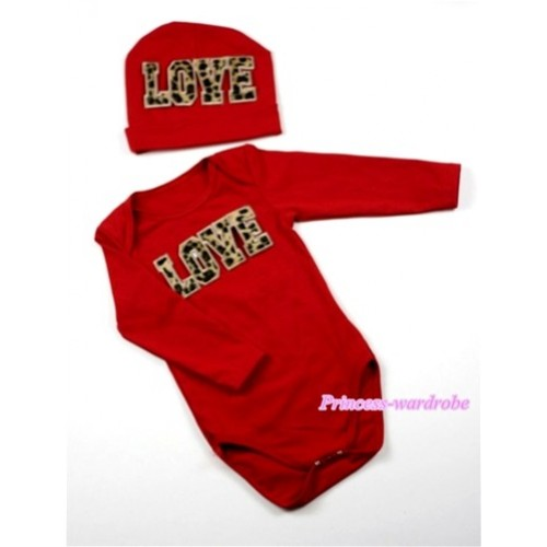 Hot Red Long Sleeve Baby Jumpsuit with Leopard Love Print with Cap Set LS56