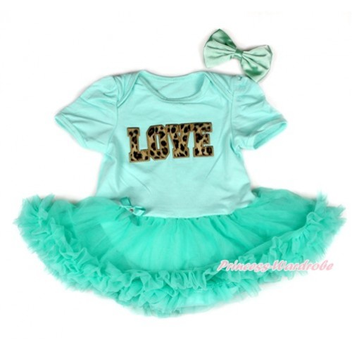 Aqua Blue Baby Bodysuit Jumpsuit Aqua Blue Pettiskirt With Leopard Love Print With Aqua Blue Satin Bow JS1936