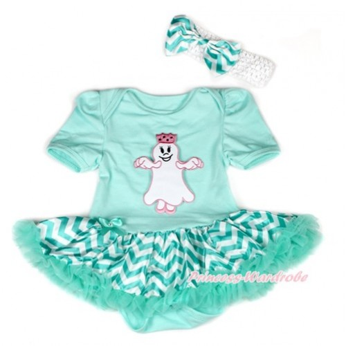 Halloween Aqua Blue Baby Bodysuit Jumpsuit Aqua Blue White Wave Pettiskirt With Princess Ghost Print With White Headband Aqua Blue White Wave Satin Bow JS1938