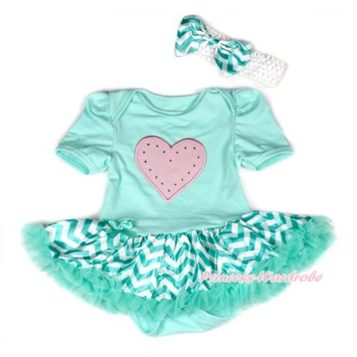 Aqua Blue Baby Bodysuit Jumpsuit Aqua Blue White Wave Pettiskirt With Light Pink Heart Print With White Headband Aqua Blue White Wave Satin Bow JS1939