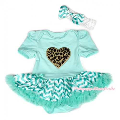 Aqua Blue Baby Bodysuit Jumpsuit Aqua Blue White Wave Pettiskirt With Leopard Heart Print With White Headband Aqua Blue White Wave Satin Bow JS1940