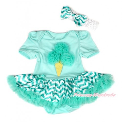 Aqua Blue Baby Bodysuit Jumpsuit Aqua Blue White Wave Pettiskirt With Aqua Blue Rosettes Ice Cream Print With White Headband Aqua Blue White Wave Satin Bow JS1945