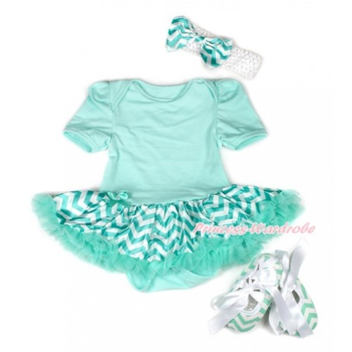 Aqua Blue Baby Jumpsuit Aqua Blue White Wave Pettiskirt With White Headband Aqua Blue White Wave Satin Bow With White Ribbon Aqua Blue White Wave Shoes JS1947