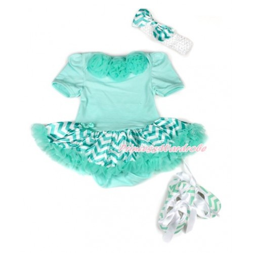 Aqua Blue Baby Jumpsuit Aqua Blue White Wave Pettiskirt With Aqua Blue Rosettes With White Headband Aqua Blue White Wave Satin Bow With White Ribbon Aqua Blue White Wave Shoes JS1948