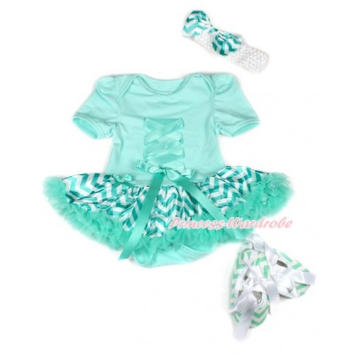 Aqua Blue Baby Jumpsuit Aqua Blue White Wave Pettiskirt With Aqua Blue Crisscross Ribbon Bow With White Headband Aqua Blue White Wave Satin Bow With White Ribbon Aqua Blue White Wave Shoes JS1949