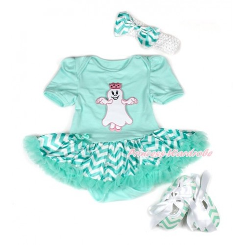 Halloween Aqua Blue Baby Bodysuit Jumpsuit Aqua Blue White Wave Pettiskirt With Princess Ghost Print With White Headband Aqua Blue White Wave Satin Bow With Aqua Blue White Wave Ribbon Shoes JS1951