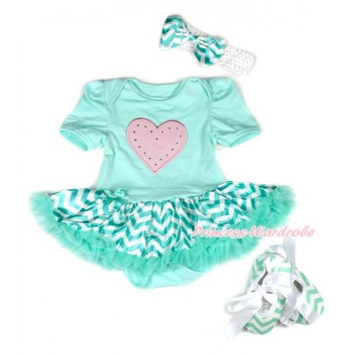 Aqua Blue Baby Bodysuit Jumpsuit Aqua Blue White Wave Pettiskirt With Light Pink Heart Print With White Headband Aqua Blue White Wave Satin Bow With Aqua Blue White Wave Ribbon Shoes JS1952