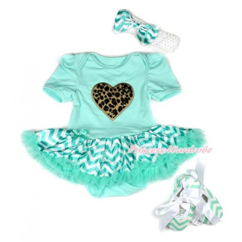 Aqua Blue Baby Bodysuit Jumpsuit Aqua Blue White Wave Pettiskirt With Leopard Heart Print With White Headband Aqua Blue White Wave Satin Bow With Aqua Blue White Wave Ribbon Shoes JS1953
