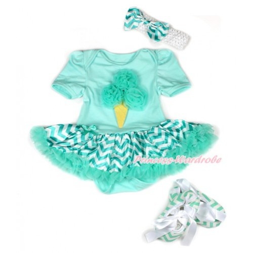 Aqua Blue Baby Bodysuit Jumpsuit Aqua Blue White Wave Pettiskirt With Aqua Blue Rosettes Ice Cream Print With White Headband Aqua Blue White Wave Satin Bow With Aqua Blue White Wave Ribbon Shoes JS1958