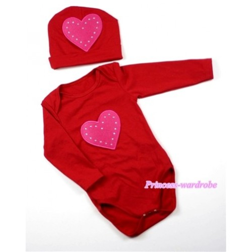 Hot Red Long Sleeve Baby Jumpsuit with Hot Pink Heart Print with Cap Set LS63