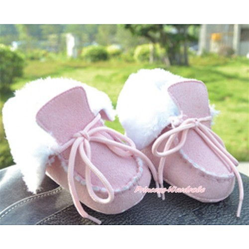 Light Pink Shoelace White Fur Newborn Toddler Baby Crib Boots SB36
