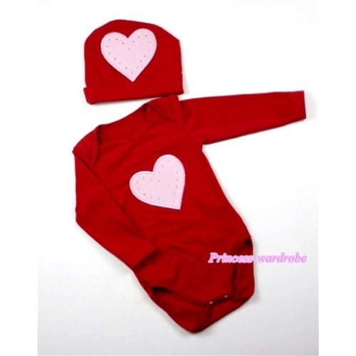 Hot Red Long Sleeve Baby Jumpsuit with Light Pink Heart Print with Cap Set LS64
