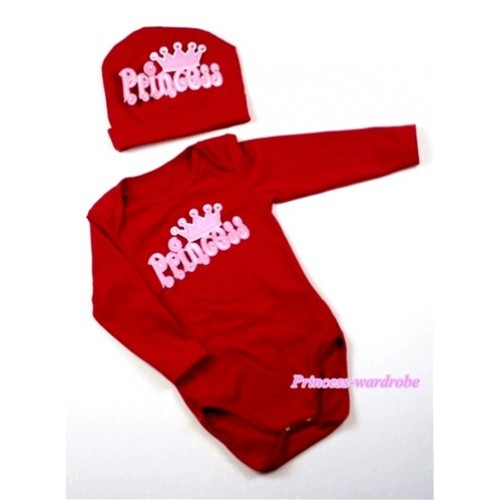 Hot Red Long Sleeve Baby Jumpsuit with Princess Print with Cap Set LS65