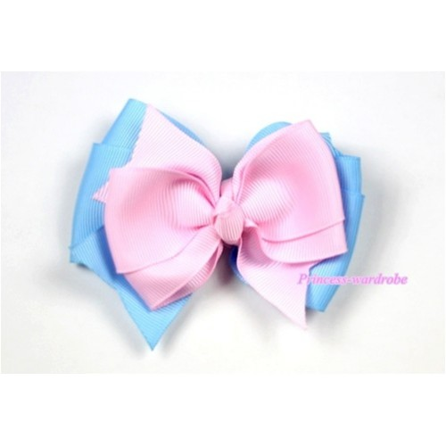 Light Pink Light Blue Ribbon Bow Hair Clip H404