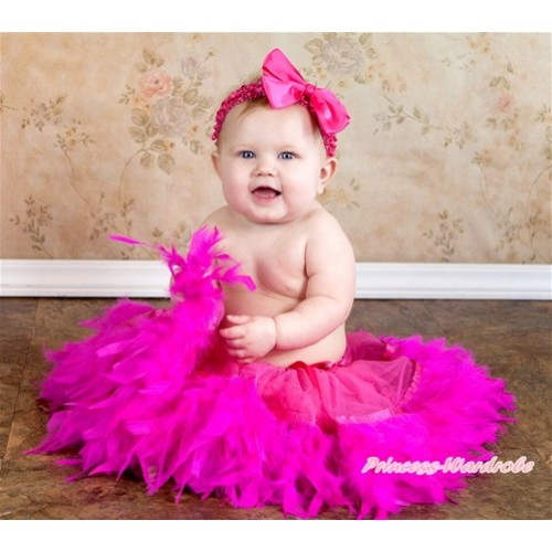 Hot Pink Feather Posh Pettiskirt 2 PC Set N161