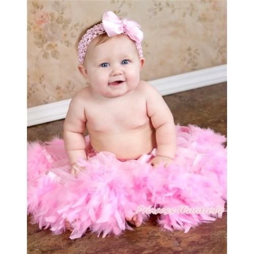 Light Pink Feather Posh Pettiskirt With Light Pink Headband Light Pink Silk Bow 2 PC Set N179