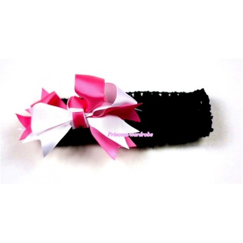 Black Headband with Hot Light Pink Ribbon Hair Bow Clip H411